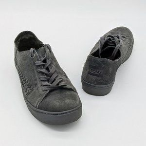 Toms Gray Suede Lenox Woven Side Lace Up Sneaker